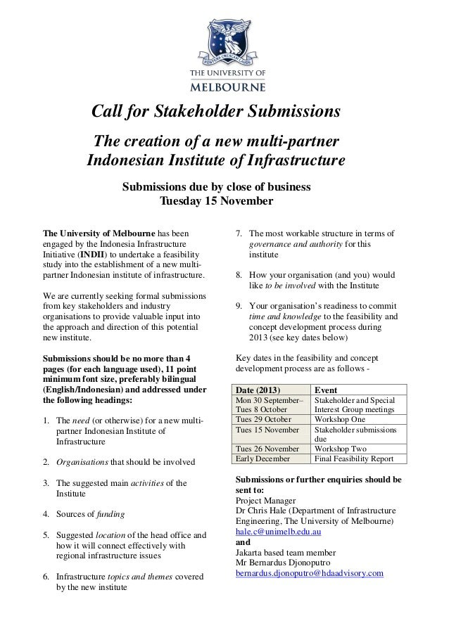 Call for Stakeholder Submissions The creation of a new multi-partner Indonesian Institute of Infrastructure Submissions du...