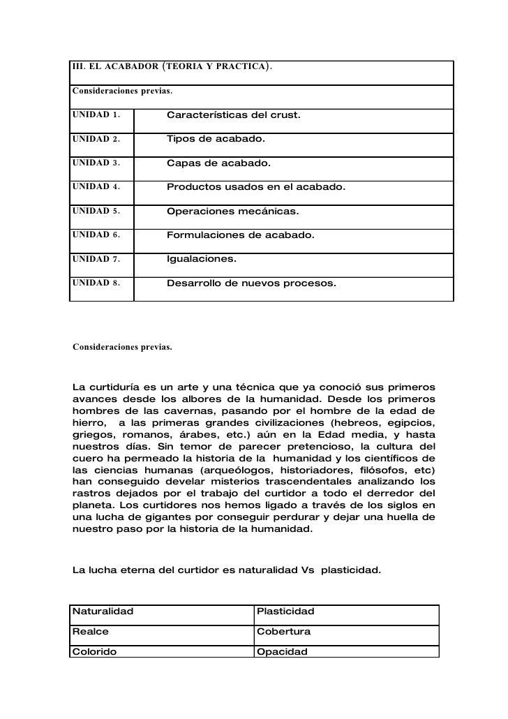 III. EL ACABADOR (TEORIA Y PRACTICA).  Consideraciones previas.  UNIDAD 1.             Características del crust.  UNIDAD ...