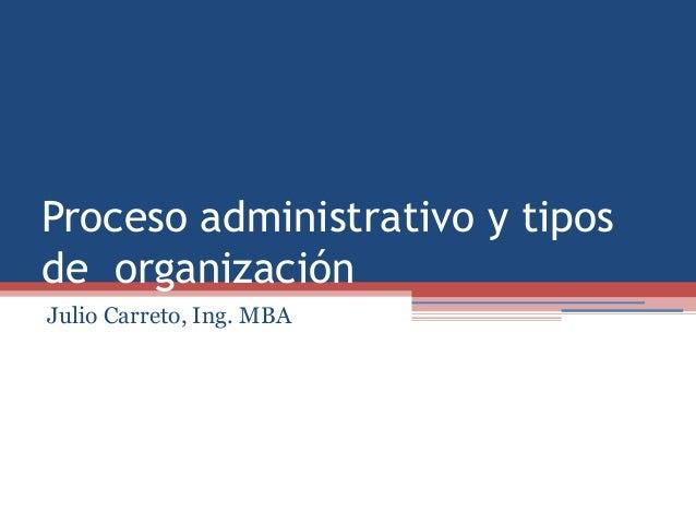 Proceso administrativo y tiposde organizaciónJulio Carreto, Ing. MBA