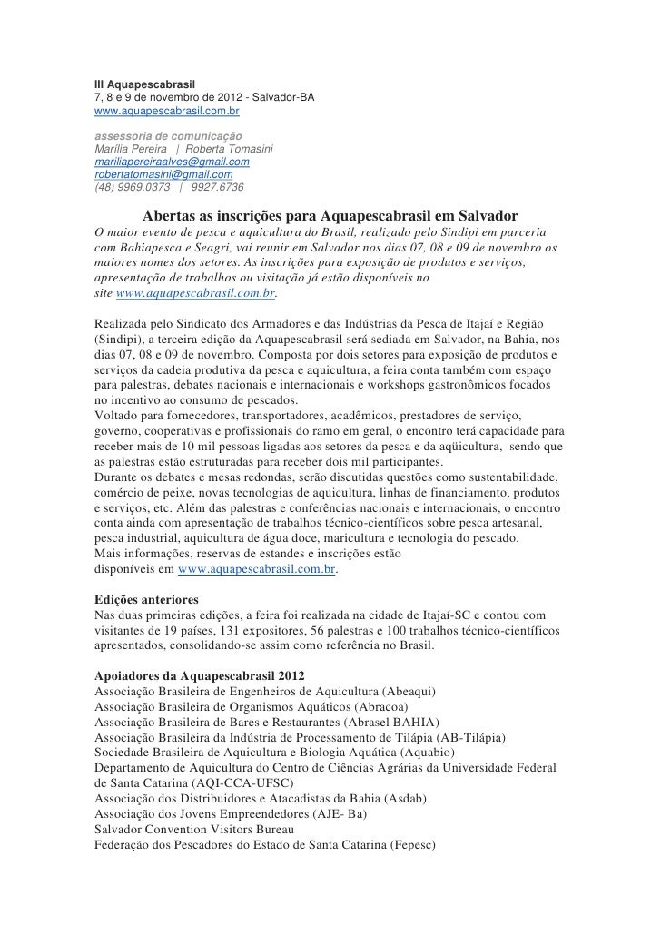 III Aquapescabrasil7, 8 e 9 de novembro de 2012 - Salvador-BAwww.aquapescabrasil.com.brassessoria de comunicaçãoMarília Pe...