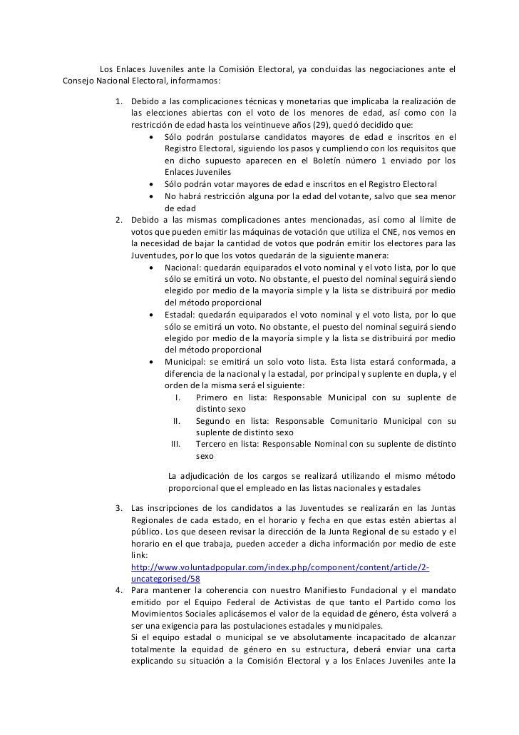 Los Enlaces Juveniles ante la Comisión Electoral, ya concluidas las negociaciones ante elConsejo Nacional Electoral, infor...