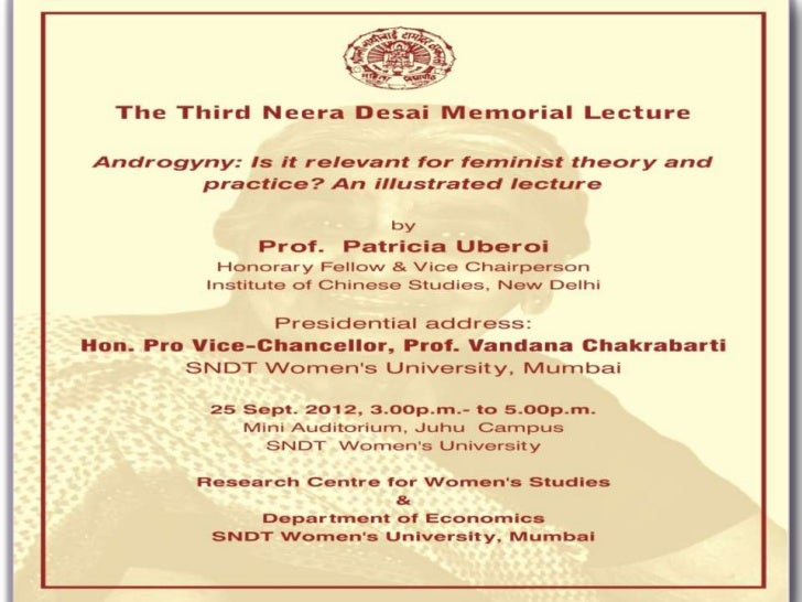 Third Dr. Neera Desai Memorial Lecture by prof. patricia uberoi 25 9-2012
