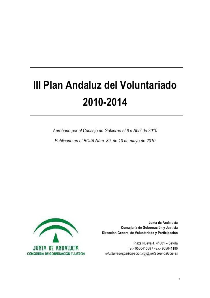 III Plan Andaluz del Voluntariado 2010 - 2014