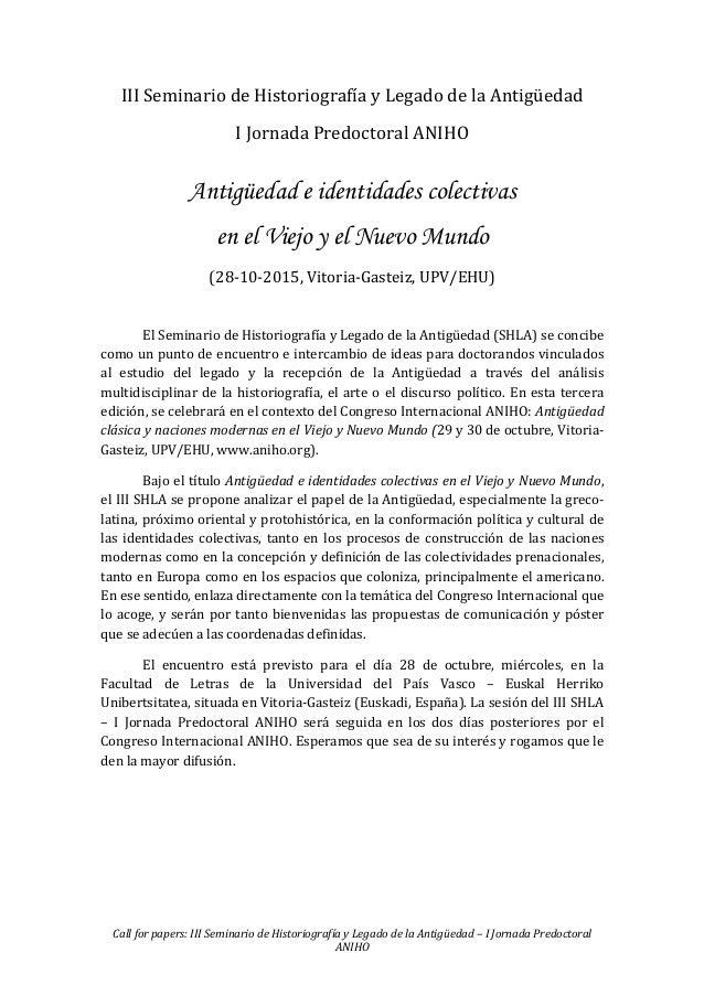 Call for papers: III Seminario de Historiografía y Legado de la Antigüedad – I Jornada Predoctoral ANIHO III Seminario de ...