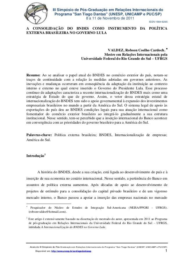 Iiisimposio santiago dantas   a consolidação do bnd es como  instrumento da política externa no governo lula