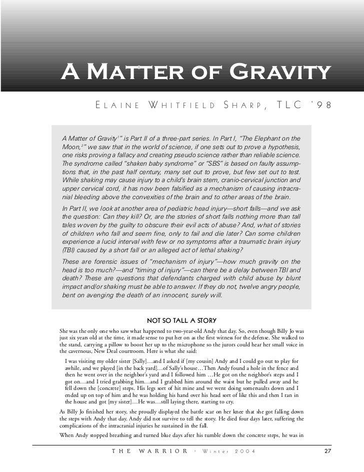 A Matter of Gravity                E   L A I N E           W     H I T F I E L D             S    H A R P       , TLC '98 ...