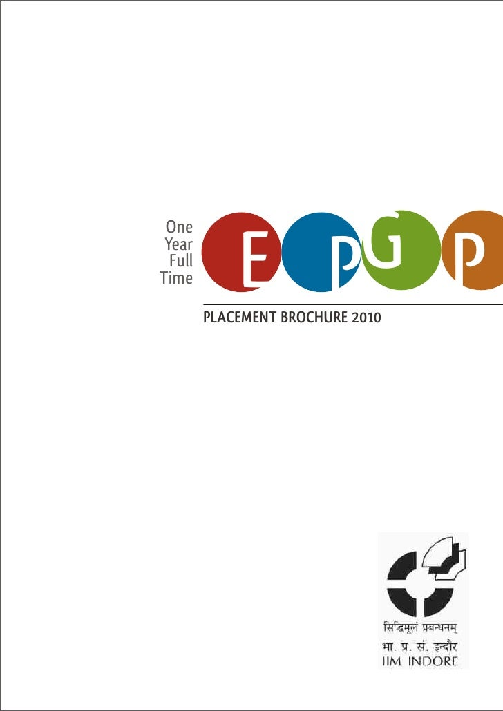Iim Indore Epgp2010 Placement Brochure