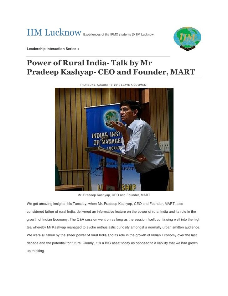 """""""Power of Rural India"""": Talk by Mr Pradeep Kashyap- CEO and Founder, MART:@ IIM Lucknow, Leadership Interaction Series,19 Aug 10"""