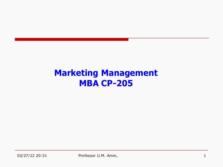 Marketing Management MBA CP-205