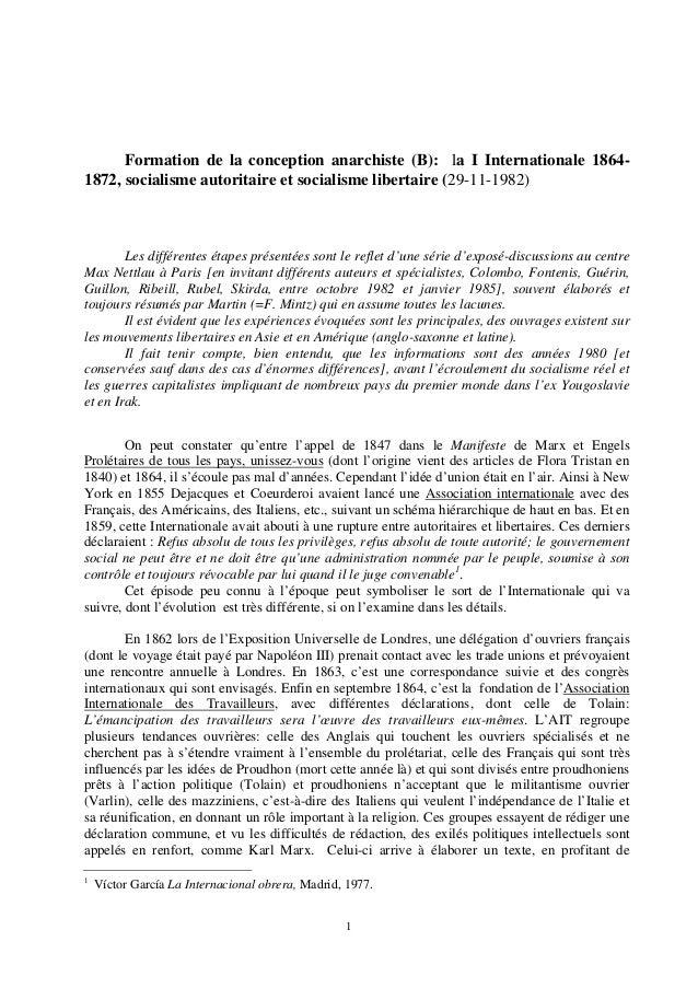 Formation de la conception anarchiste (B): la I Internationale 1864-  1872, socialisme autoritaire et socialisme libertair...