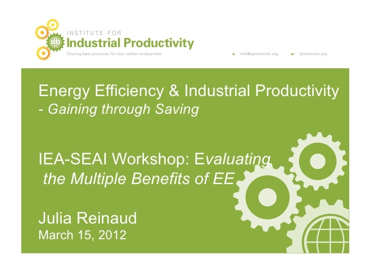 INSTITUTE FOR    Industrial Productivity    Sharing best practices for low carbon enterprises   e   info@iipnetwork.org   ...
