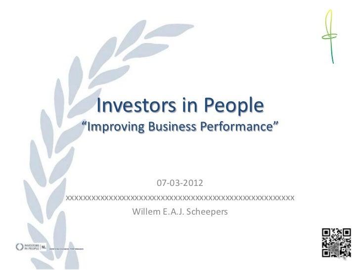 Investors in People presentatie 070312