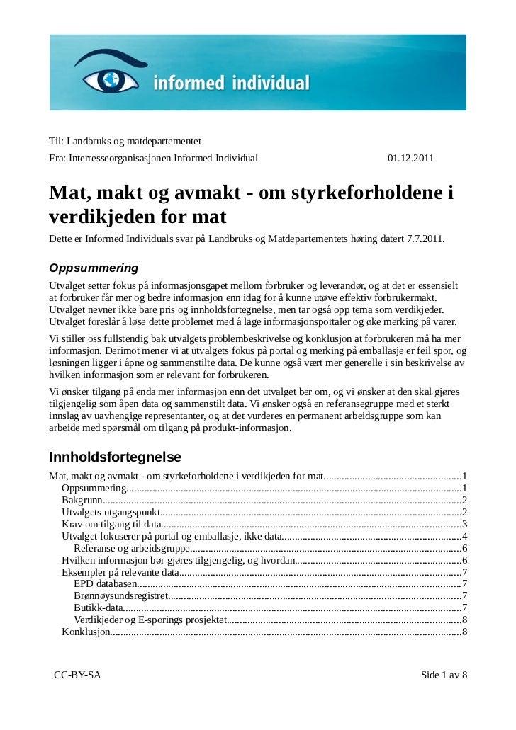 Informed Individual reply to Mat, Makt og Avmakt