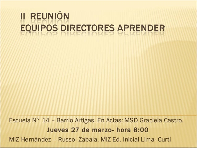 Escuela N° 14 – Barrio Artigas. En Actas: MSD Graciela Castro. Jueves 27 de marzo- hora 8:00 MIZ Hernández – Russo- Zabala...
