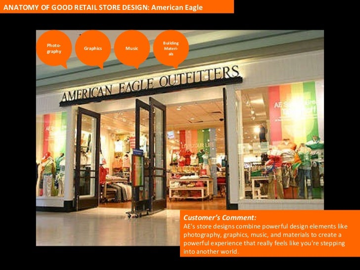 Customer's Comment:  AE's store designs combine powerful design elements like photography, graphics, music, and materials ...