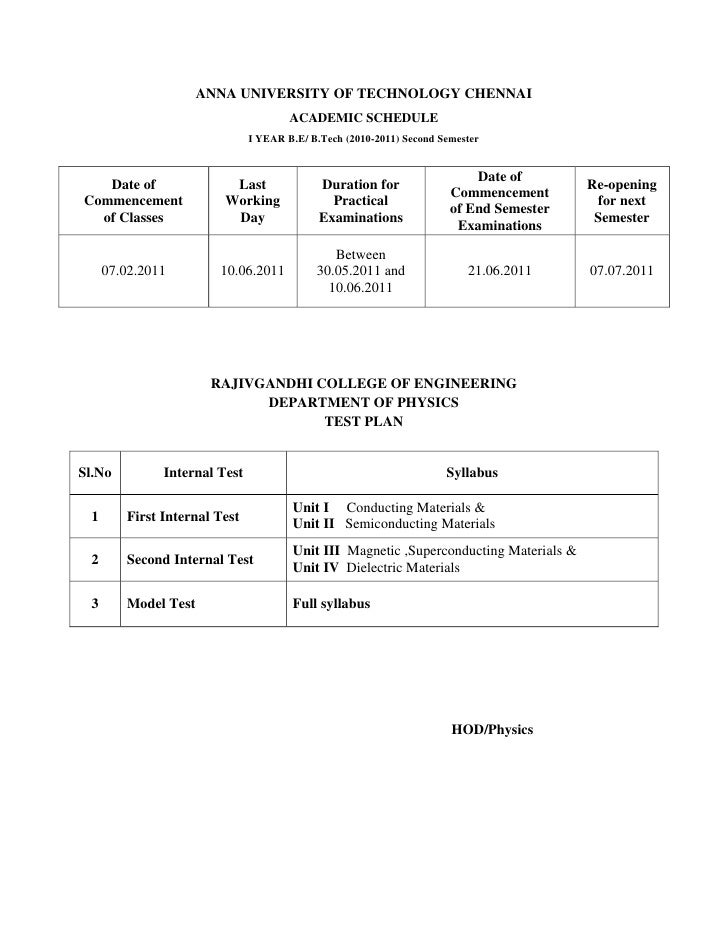 ANNA UNIVERSITY OF TECHNOLOGY CHENNAI<br />ACADEMIC SCHEDULE<br />I YEAR B.E/ B.Tech (2010-2011) Second Semester<br />Date...
