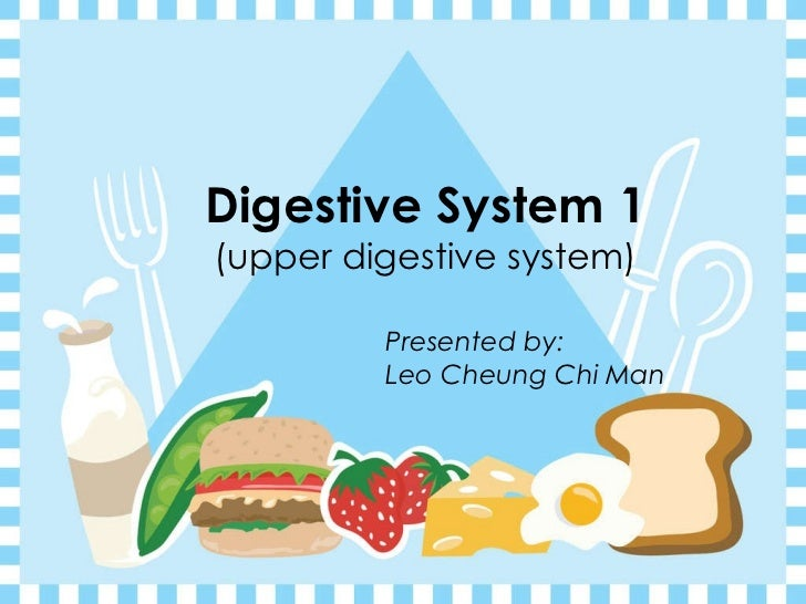 Digestive System 1  (upper digestive system) Presented by:   Leo Cheung Chi Man