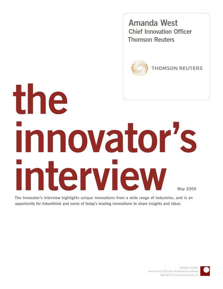 Innovator Interview: Amanda West, Thomson Reuters