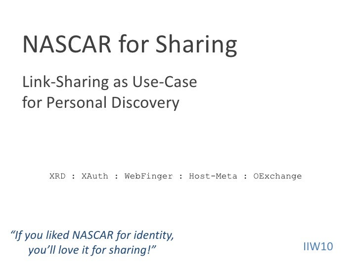 NASCAR for SharingLink-Sharing as Use-Case for Personal Discovery<br />XRD : XAuth : WebFinger : Host-Meta : OExchange<br ...