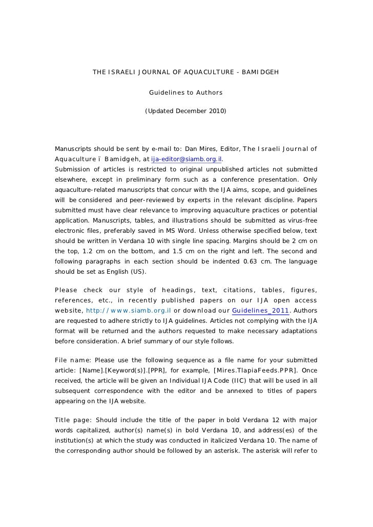 THE ISRAELI JOURNAL OF AQUACULTURE - BAMIDGEH                                 Guidelines to Authors                       ...