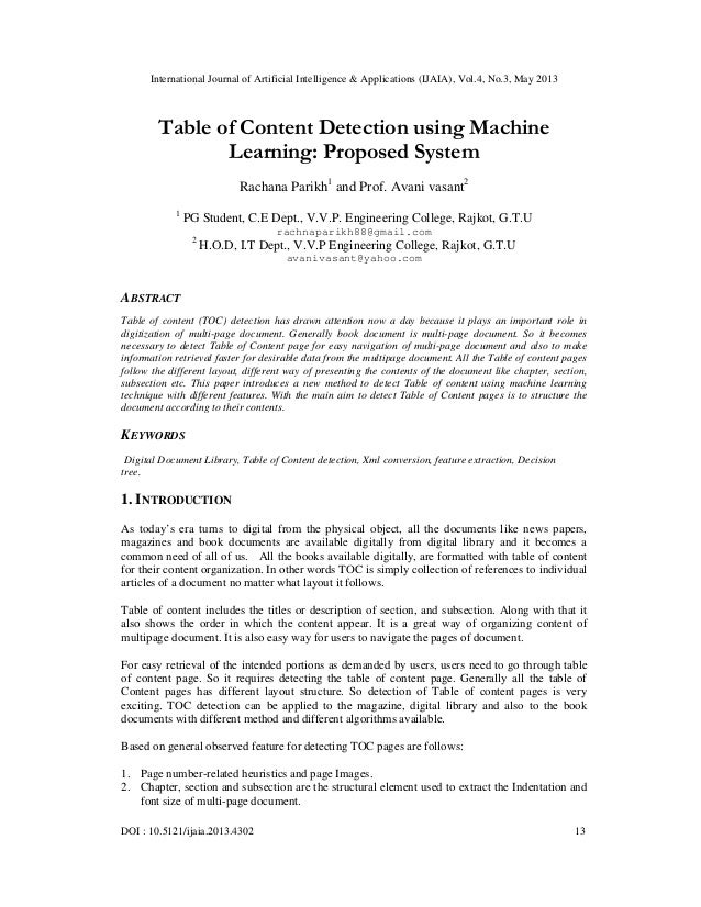Table of Content Detection using Machine Learning: Proposed System
