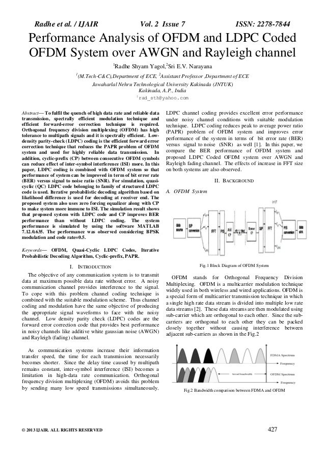 Radhe et al. / IJAIR  Vol. 2 Issue 7  ISSN: 2278-7844  Performance Analysis of OFDM and LDPC Coded OFDM System over AWGN a...