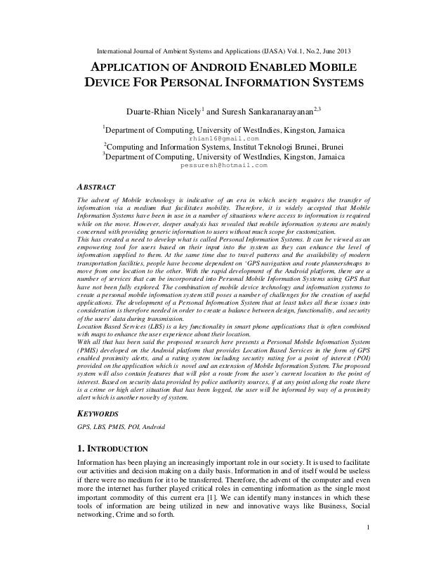 Application Of Android Enabled Mobile Device For Personal Information Systems