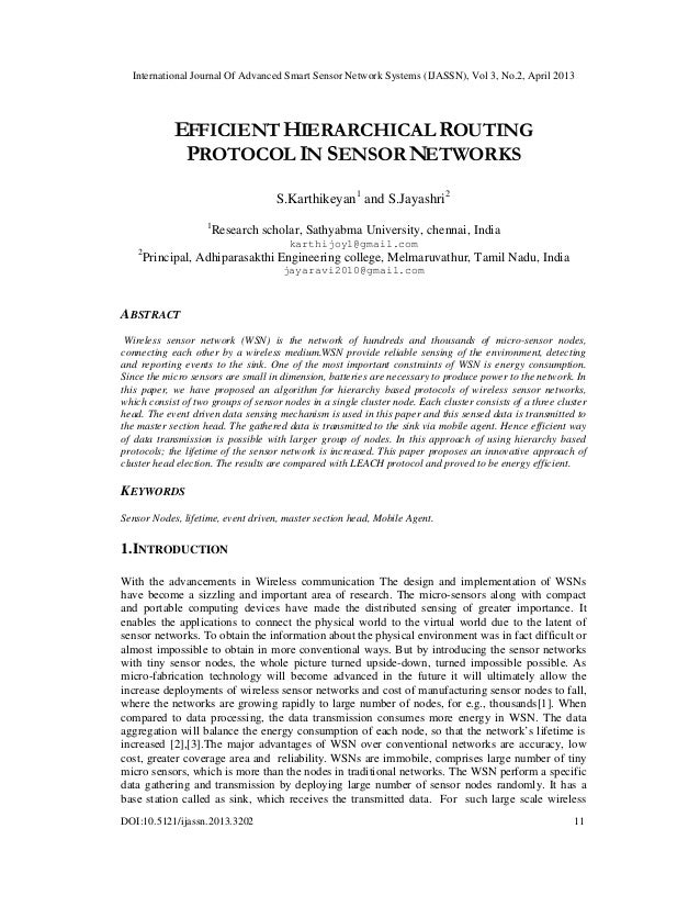 EFFICIENT HIERARCHICAL ROUTING PROTOCOL IN SENSOR NETWORKS