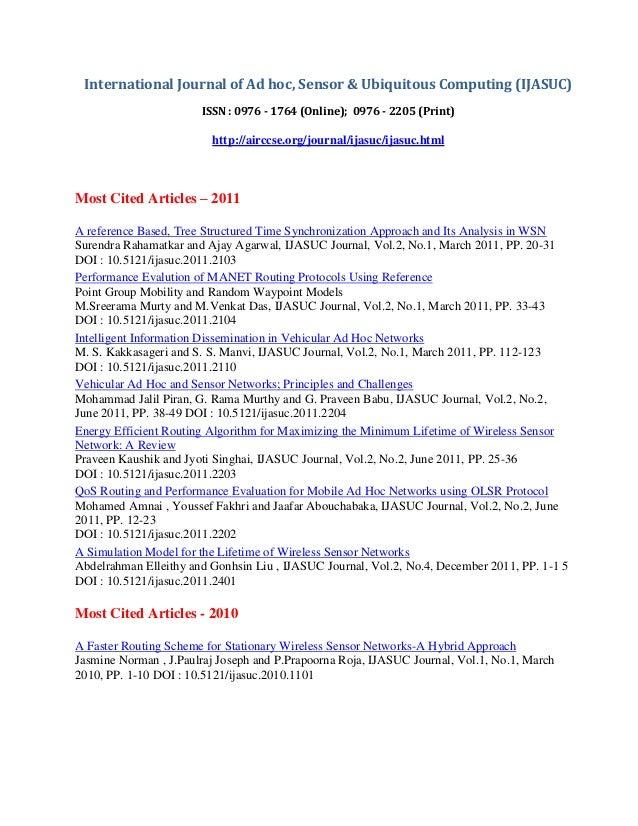 International Journal of Ad hoc, Sensor & Ubiquitous Computing (IJASUC) ISSN : 0976 - 1764 (Online); 0976 - 2205 (Print) h...