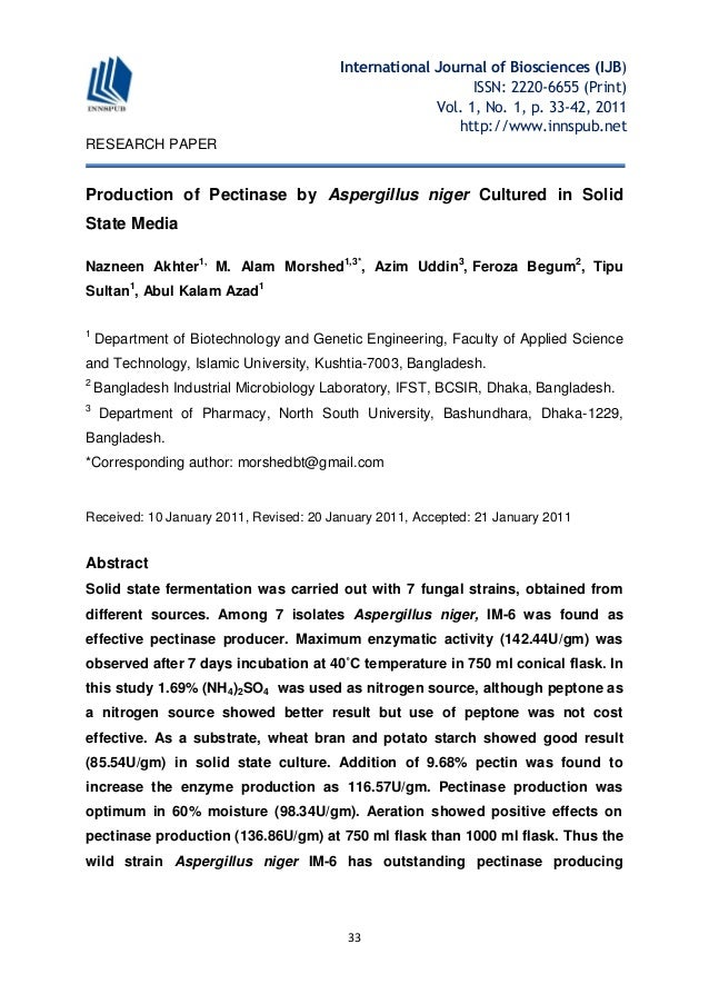 pectinase research paper The application of pectinase in pulp and paper industry are reviewed in this paperaccording to the classification of pectinase and its action mechanism,the process.