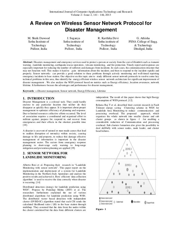 A Review on Wireless Sensor Network Protocol for Disaster Management