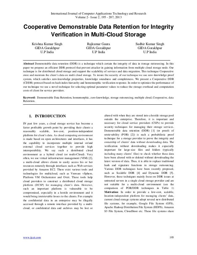 Cooperative Demonstrable Data Retention for Integrity Verification in Multi-Cloud Storage