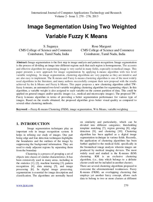 Image Segmentation Using Two Weighted Variable Fuzzy K Means