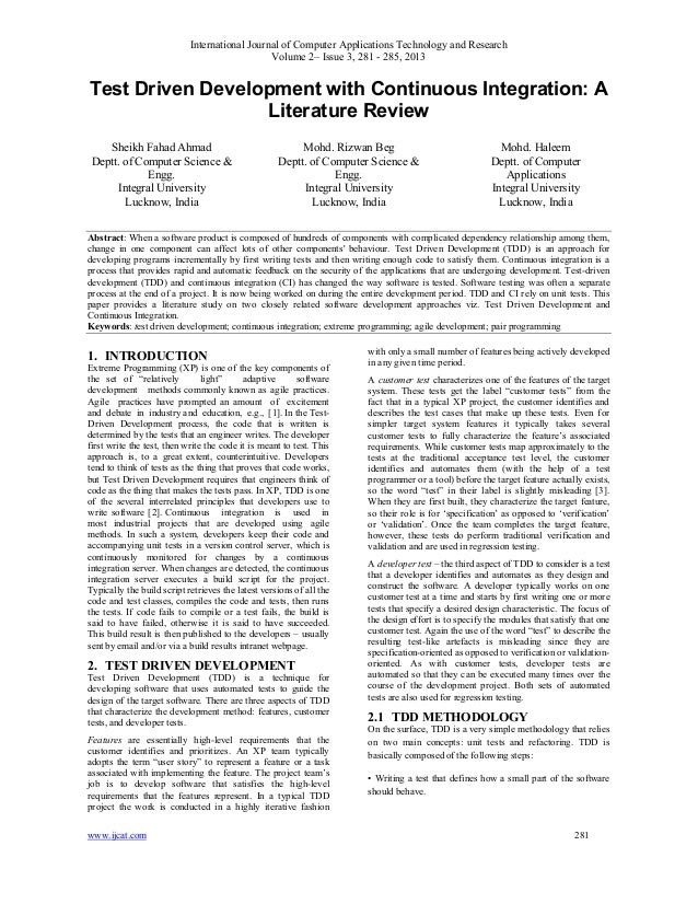 Test Driven Development with Continuous Integration: A Literature Review