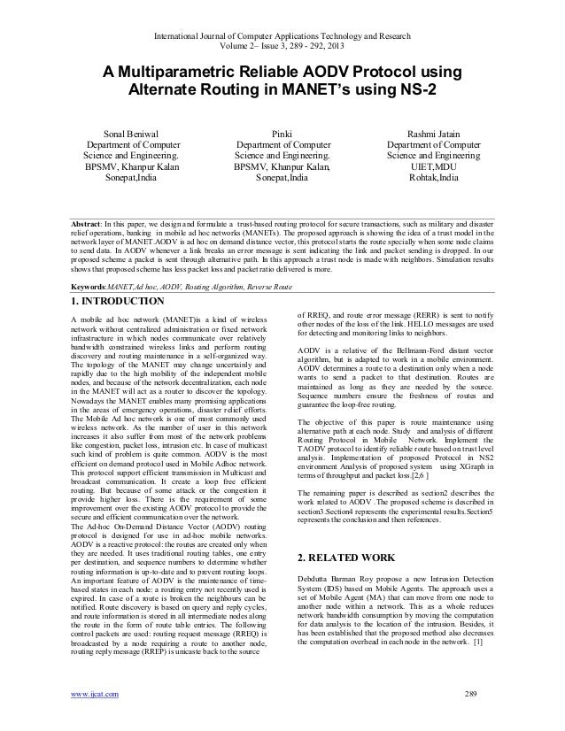 A Multiparametric Reliable AODV Protocol using Alternate Routing in MANET's using NS-2