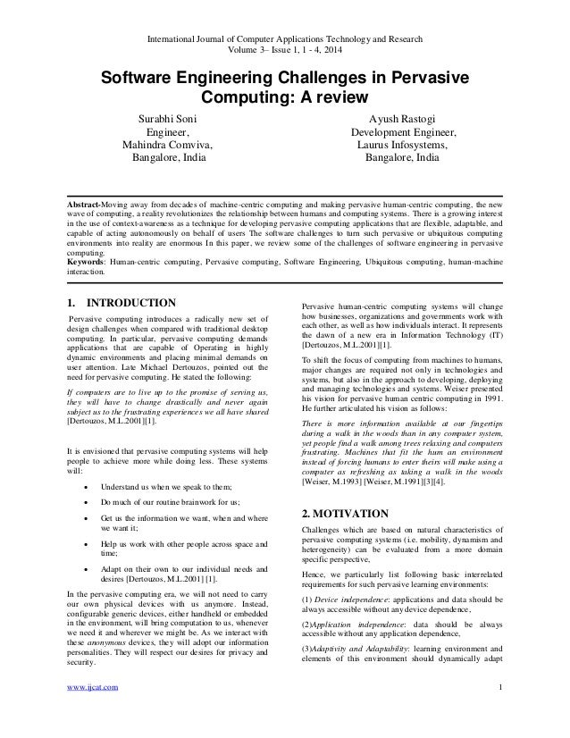Software Engineering Challenges in Pervasive Computing: A review