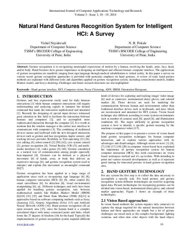 Natural Hand Gestures Recognition System for Intelligent HCI: A Survey
