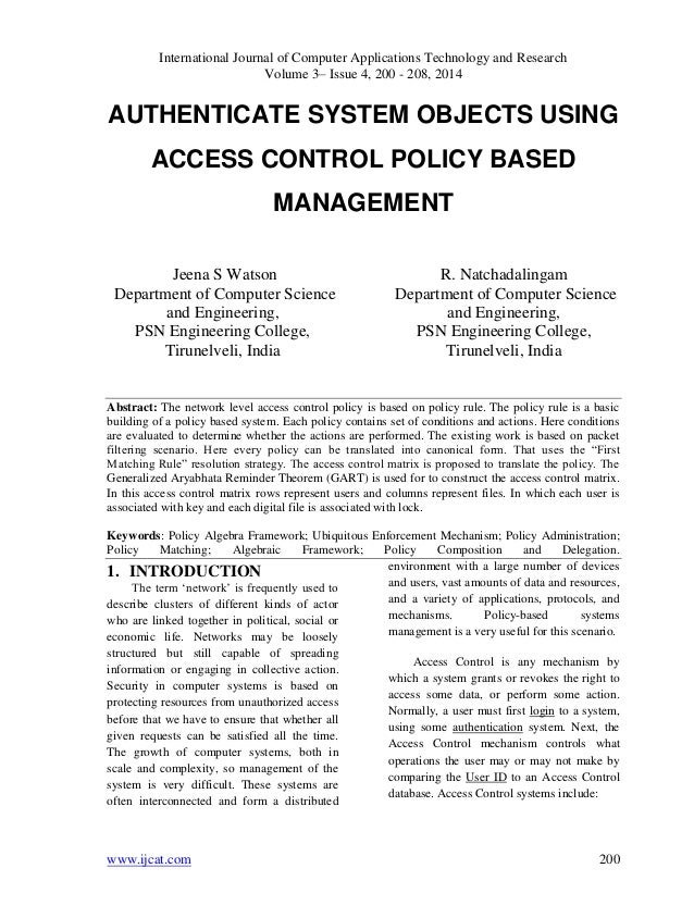 AUTHENTICATE SYSTEM OBJECTS USING ACCESS CONTROL POLICY BASED MANAGEMENT