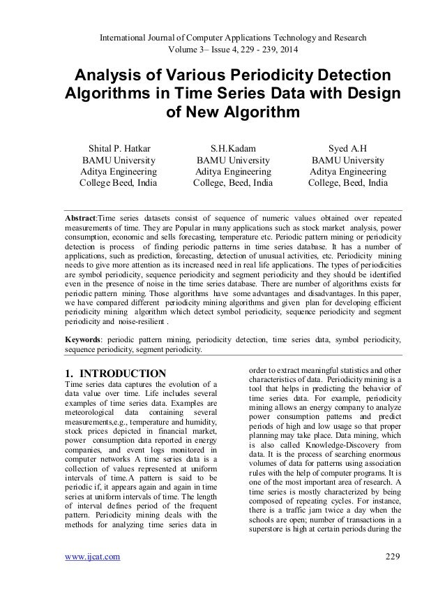 Analysis of Various Periodicity Detection Algorithms in Time Series Data with Design of New Algorithm