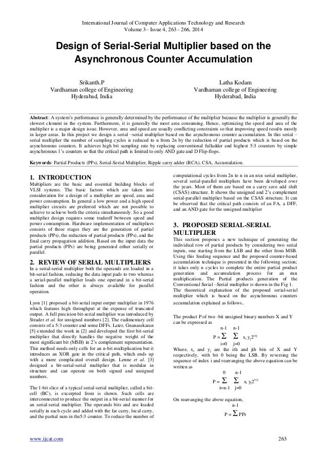 Design of Serial-Serial Multiplier based on the Asynchronous Counter Accumulation
