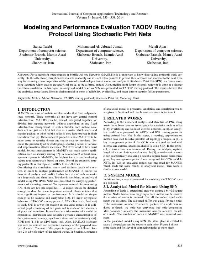 Modeling and Performance Evaluation TAODV Routing Protocol Using Stochastic Petri Nets