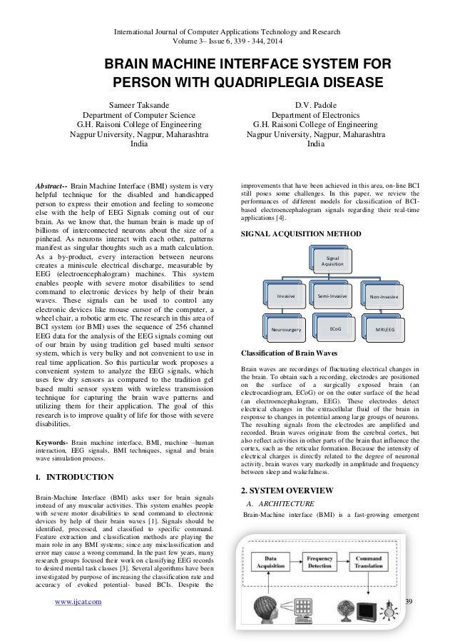 BRAIN MACHINE INTERFACE SYSTEM FOR PERSON WITH QUADRIPLEGIA DISEASE