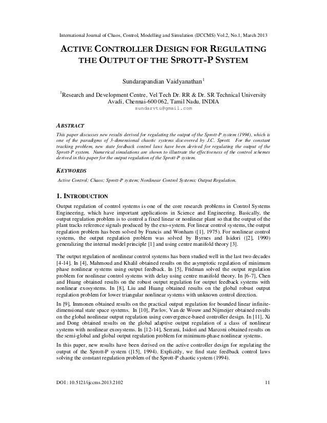 Active Controller Design for Regulating the Output of the Sprott-P System