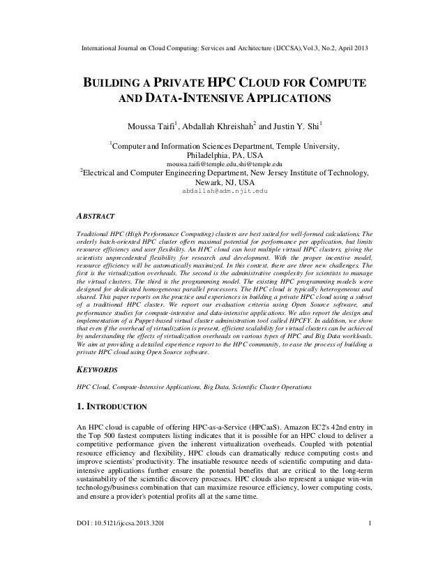 International Journal on Cloud Computing: Services and Architecture (IJCCSA),Vol.3, No.2, April 2013DOI : 10.5121/ijccsa.2...