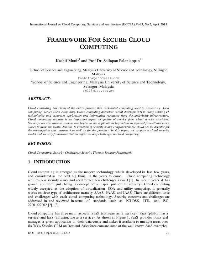 FRAMEWORK FOR SECURE CLOUD COMPUTING
