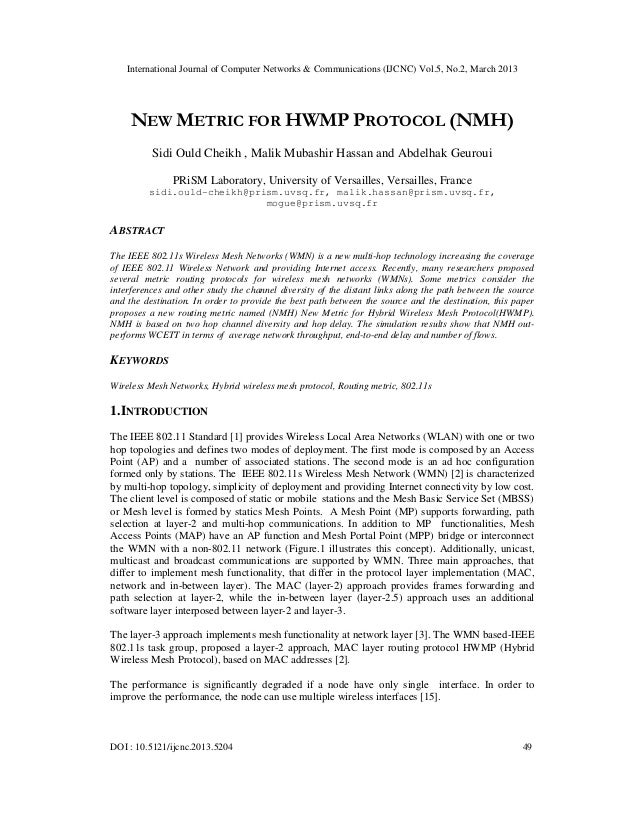 International Journal of Computer Networks & Communications (IJCNC) Vol.5, No.2, March 2013     NEW METRIC FOR HWMP PROTOC...