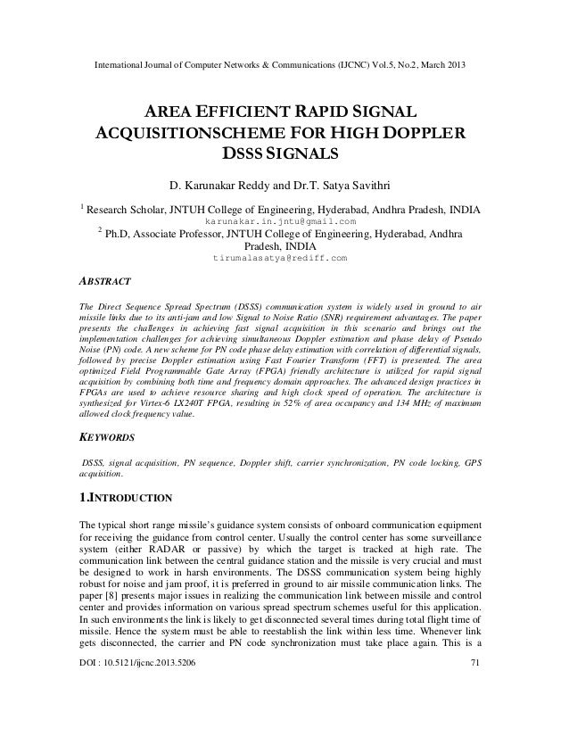 International Journal of Computer Networks & Communications (IJCNC) Vol.5, No.2, March 2013         AREA EFFICIENT RAPID S...