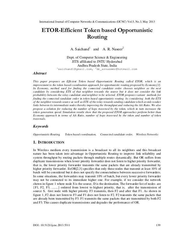 ETOR-Efficient Token based Opportunistic Routing