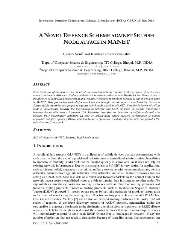 A novel defence scheme against selfish Node attack in manet