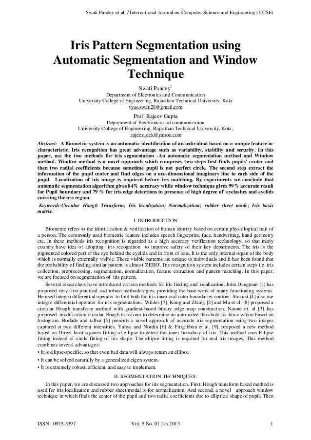 Swati Pandey et al. / International Journal on Computer Science and Engineering (IJCSE)  Iris Pattern Segmentation using A...